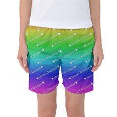 Merry Christmas,text,rainbow Women s Basketball Shorts