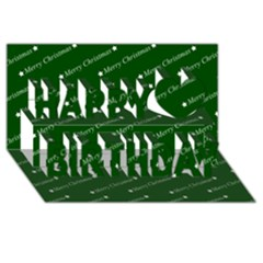 Merry Christmas,text,green Happy Birthday 3D Greeting Card (8x4)
