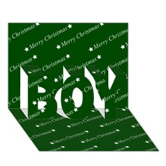 Merry Christmas,text,green Boy 3d Greeting Card (7x5)