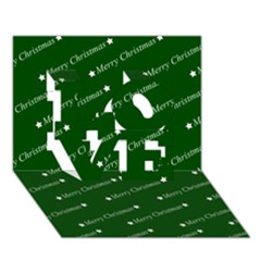 Merry Christmas,text,green LOVE 3D Greeting Card (7x5)