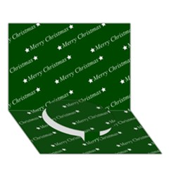 Merry Christmas,text,green Circle Bottom 3d Greeting Card (7x5)