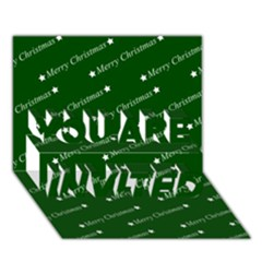 Merry Christmas,text,green You Are Invited 3d Greeting Card (7x5)