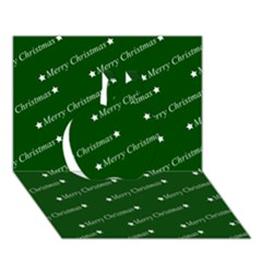 Merry Christmas,text,green Apple 3d Greeting Card (7x5)