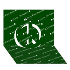 Merry Christmas,text,green Peace Sign 3D Greeting Card (7x5)