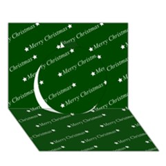 Merry Christmas,text,green Circle 3D Greeting Card (7x5)