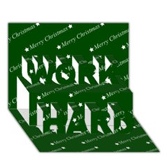 Merry Christmas,text,green Work Hard 3d Greeting Card (7x5)