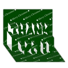 Merry Christmas,text,green THANK YOU 3D Greeting Card (7x5)