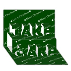 Merry Christmas,text,green TAKE CARE 3D Greeting Card (7x5)