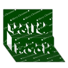 Merry Christmas,text,green You Rock 3D Greeting Card (7x5)