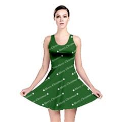 Merry Christmas,text,green Reversible Skater Dresses