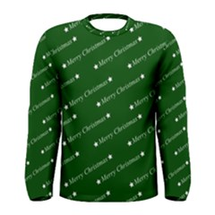 Merry Christmas,text,green Men s Long Sleeve T-shirts