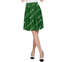 Merry Christmas,text,green A-Line Skirts