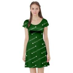 Merry Christmas,text,green Short Sleeve Skater Dresses