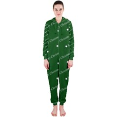 Merry Christmas,text,green Hooded Jumpsuit (ladies)