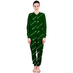 Merry Christmas,text,green OnePiece Jumpsuit (Ladies)