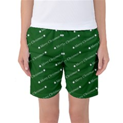 Merry Christmas,text,green Women s Basketball Shorts