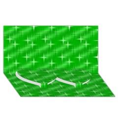 Many Stars, Neon Green Twin Heart Bottom 3d Greeting Card (8x4)