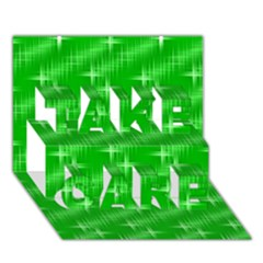 Many Stars, Neon Green Take Care 3d Greeting Card (7x5)