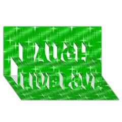 Many Stars, Neon Green Laugh Live Love 3d Greeting Card (8x4)