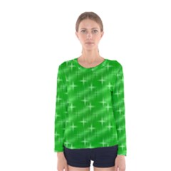 Many Stars, Neon Green Women s Long Sleeve T-shirts