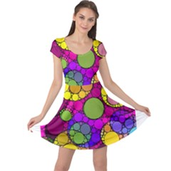 Florescent Abstract  Cap Sleeve Dresses