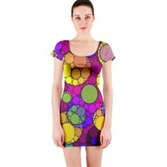 Florescent Abstract  Short Sleeve Bodycon Dresses