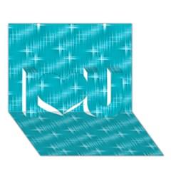 Many Stars,aqua I Love You 3D Greeting Card (7x5)