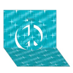 Many Stars,aqua Peace Sign 3d Greeting Card (7x5)