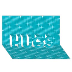 Many Stars,aqua HUGS 3D Greeting Card (8x4)