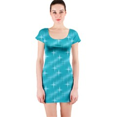Many Stars,aqua Short Sleeve Bodycon Dresses