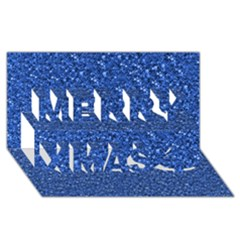 Sparkling Glitter Blue Merry Xmas 3d Greeting Card (8x4)
