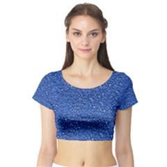Sparkling Glitter Blue Short Sleeve Crop Top
