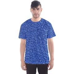 Sparkling Glitter Blue Men s Sport Mesh Tees