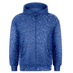 Sparkling Glitter Blue Men s Zipper Hoodies