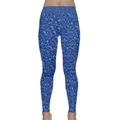 Sparkling Glitter Blue Yoga Leggings