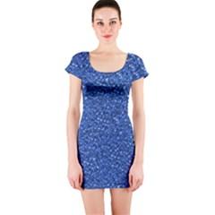 Sparkling Glitter Blue Short Sleeve Bodycon Dresses