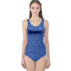 Sparkling Glitter Blue Women s One Piece Swimsuits
