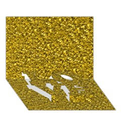 Sparkling Glitter Golden LOVE Bottom 3D Greeting Card (7x5)