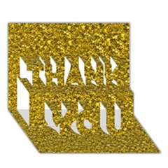 Sparkling Glitter Golden Thank You 3d Greeting Card (7x5)