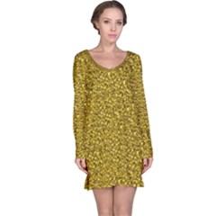 Sparkling Glitter Golden Long Sleeve Nightdresses