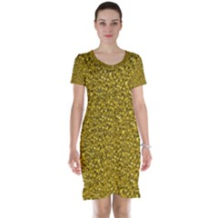 Sparkling Glitter Golden Short Sleeve Nightdresses