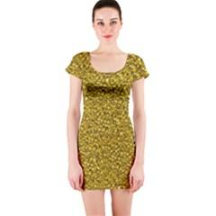 Sparkling Glitter Golden Short Sleeve Bodycon Dresses