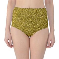 Sparkling Glitter Golden High-Waist Bikini Bottoms