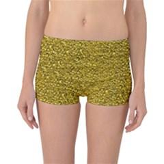 Sparkling Glitter Golden Reversible Boyleg Bikini Bottoms