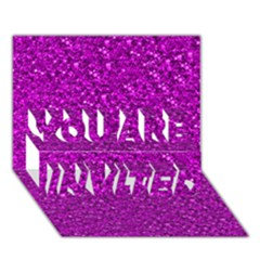 Sparkling Glitter Hot Pink YOU ARE INVITED 3D Greeting Card (7x5)