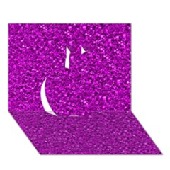 Sparkling Glitter Hot Pink Apple 3D Greeting Card (7x5)