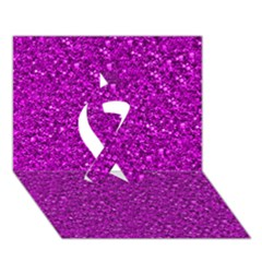 Sparkling Glitter Hot Pink Ribbon 3d Greeting Card (7x5)