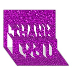 Sparkling Glitter Hot Pink Thank You 3d Greeting Card (7x5)