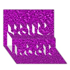 Sparkling Glitter Hot Pink You Rock 3D Greeting Card (7x5)