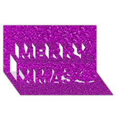 Sparkling Glitter Hot Pink Merry Xmas 3D Greeting Card (8x4)